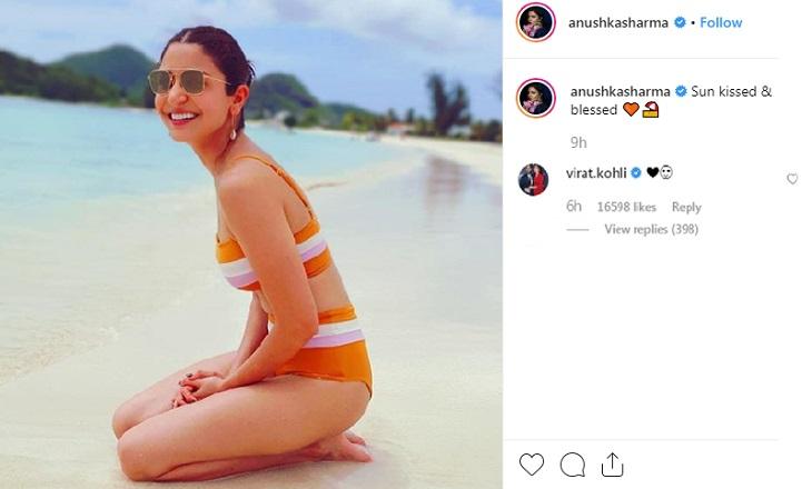 Virat Kohli reacts to Anushka's Instagram pic in colourful bikini