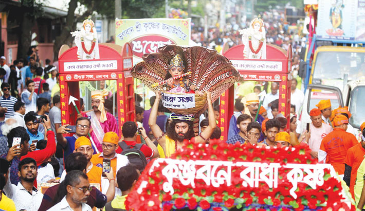 Hindu community take out a colourful procession