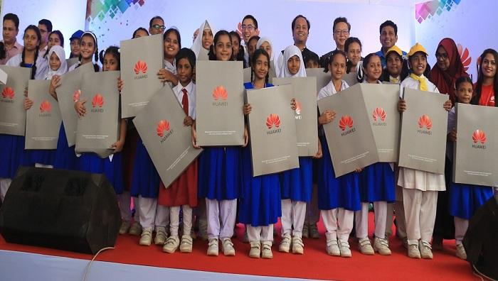 Karail schoolgirls get tabs, educational instruments