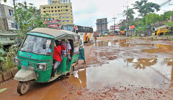 Numerous potholes