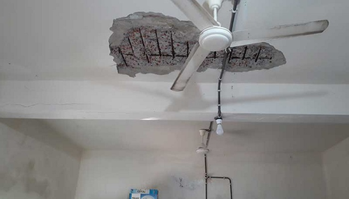 Teachers worried as ceiling plaster falls off at Gafargaon Govt College