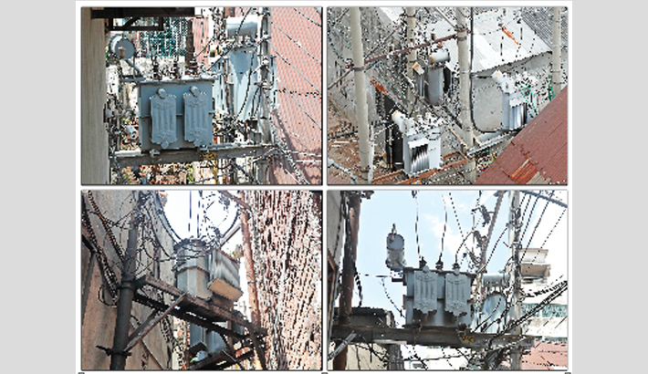 High-voltage transformers in a risky position