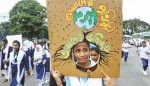Children rally against climate change in Dhaka
