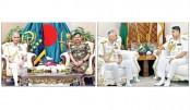 Indian Navy Chief meets his Bangladesh counterpart