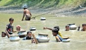 A group of villagers are busy fishing in chest-deep