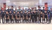 U-18 football team return home