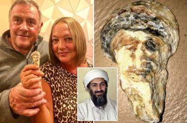 Woman shocked to find seashell that looks like Osama Bin Laden