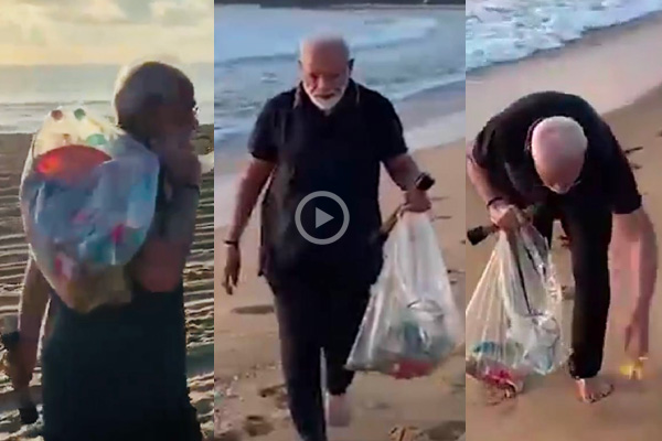 Indian PM Modi picks up garbage from beach,shares video (Watch)