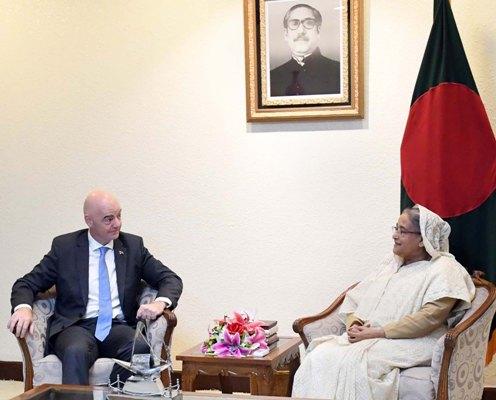 FIFA President Gianni Infantino meets PM Hasina