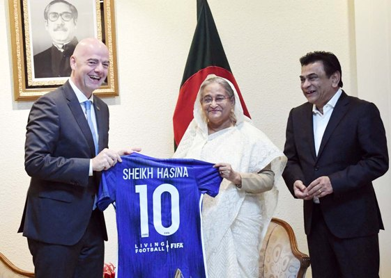 FIFA's support for Bangladesh's football promotion to continue, its head tells PM