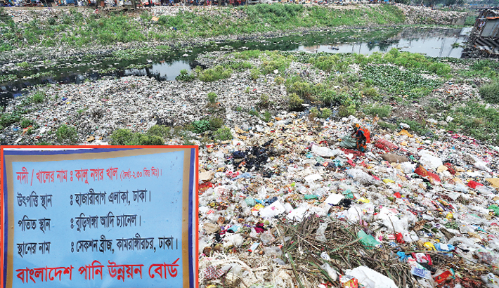 Dumping of waste materials in the river