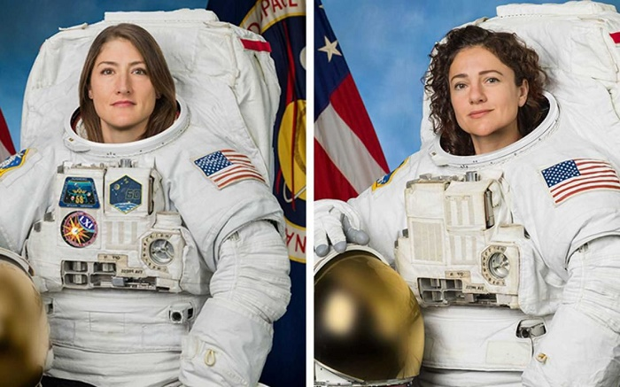 Space station's 2 women prep for 1st all-female spacewalk