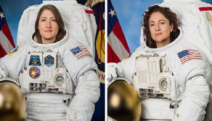 Nasa astronauts Christina Koch and Jessica Meir in all-women spacewalk