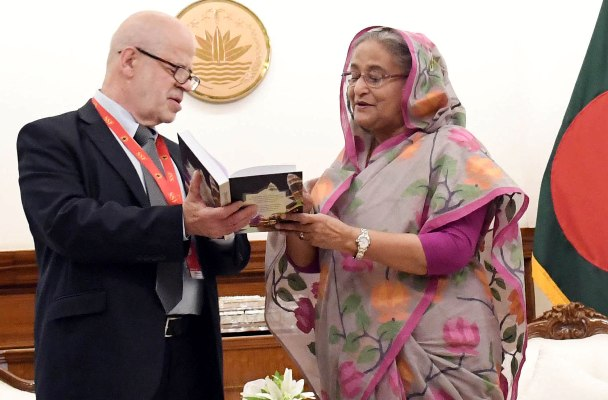 PM receives 2 Russian translated books on Bangabandhu