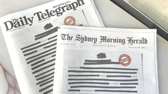 Australian newspapers black out front pages in 'secrecy' protest