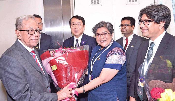 President reaches Tokyo