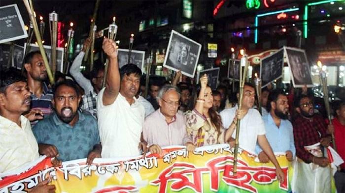 BNP takes out torch procession seeking Khaleda's release
