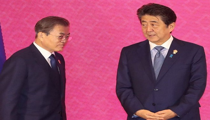 Leaders of South Korea and Japan meet to resolve dispute