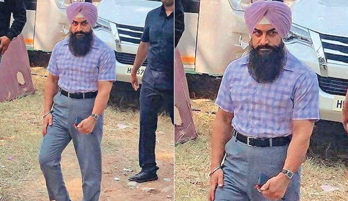 Aamir sports beard, turban in leaked photo from 'Laal Singh Chaddha' sets
