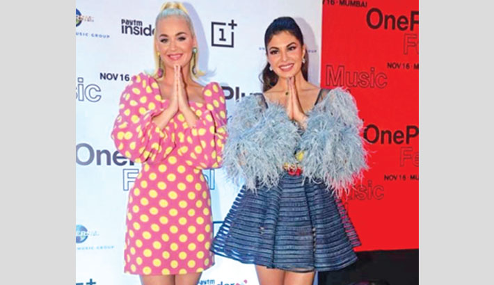 Katy Perry attends an event with Jacqueline in Mumbai
