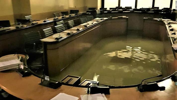 Venice government office is flooded minutes after officials rejected plan to combat climate change