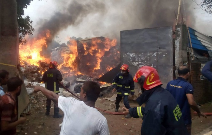 Cotton factory  catches fire in Gazipur