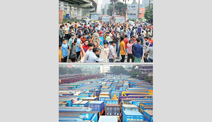 Truck and covered-van workers block busy Satrasta intersection in the capital's
