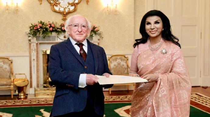 Tasneem presents credentials to Irish President