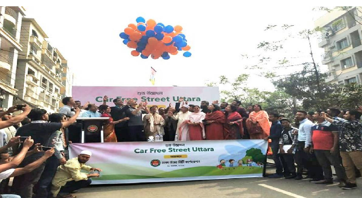 'Car-free road' opened in Uttara