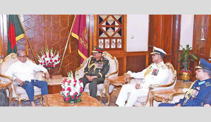 Chiefs of three services meet president