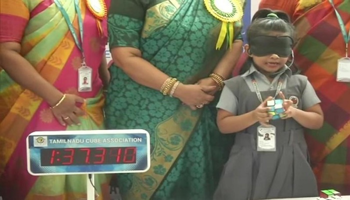 'World's youngest genius', 6-year-old Chennai girl solves Rubik's cube blindfolded