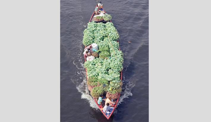 A boat carrying different types of winter vegetables