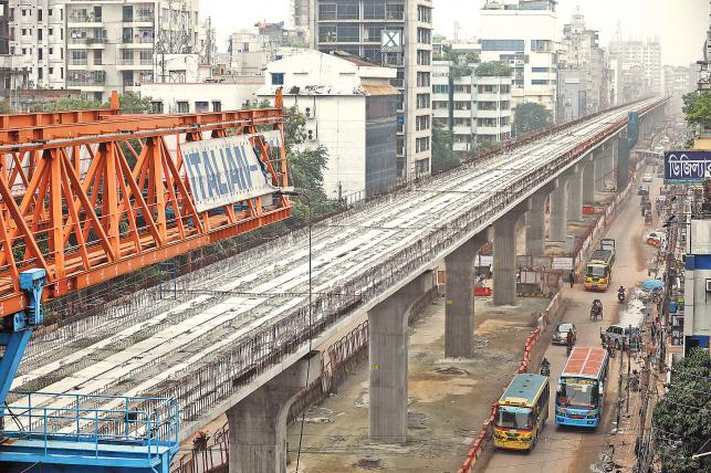 8-km viaduct of metro rail is visible: official