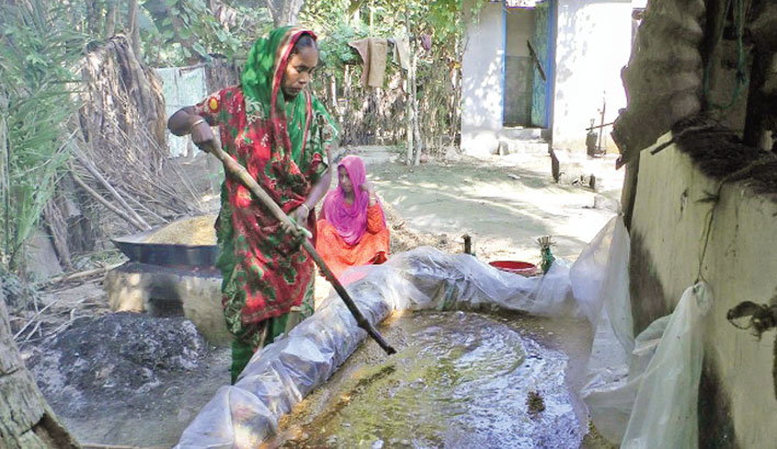 Woman is busy boiling date palm juice to prepare jaggery