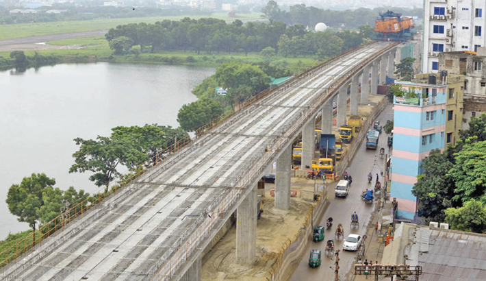 8-km viaduct of metro rail becomes visible