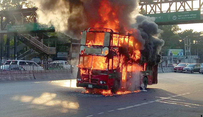 Two buses catch fire