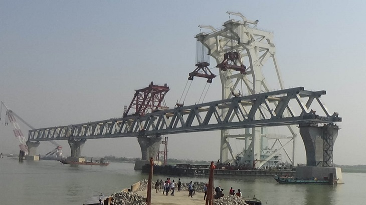 18th span of Padma Bridge being installed