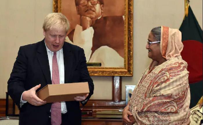 PM greets Boris Johnson; seeks support for Rohingya repatriation
