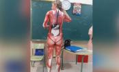 School teacher wears Anatomy bodysuit to make learning more fun