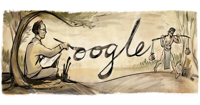 Google Doodle celebrating Zainul Abedin's 105th birthday
