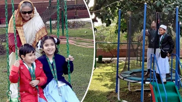 Sheikh Hasina plays with school kids at Ganabhaban (Watch)