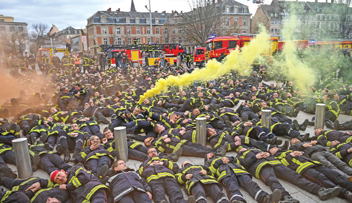 Firefighters take part in a demonstration