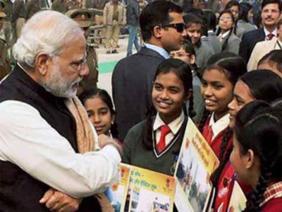 Indian PM interacts with school students ahead of annual exams