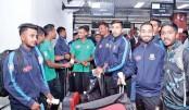 Players of Bangladesh National Cricket Team pose for a photograph