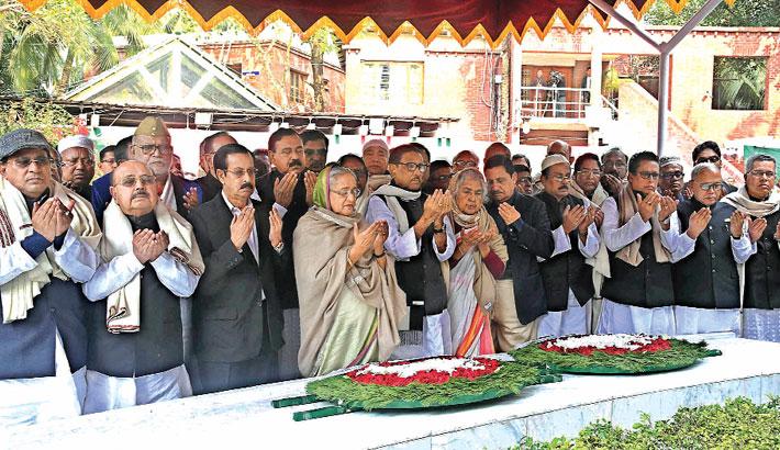 Prime Minister Sheikh Hasina placing floral wreaths at the mazar of Bangabandhu Sheikh Mujibur Rahman