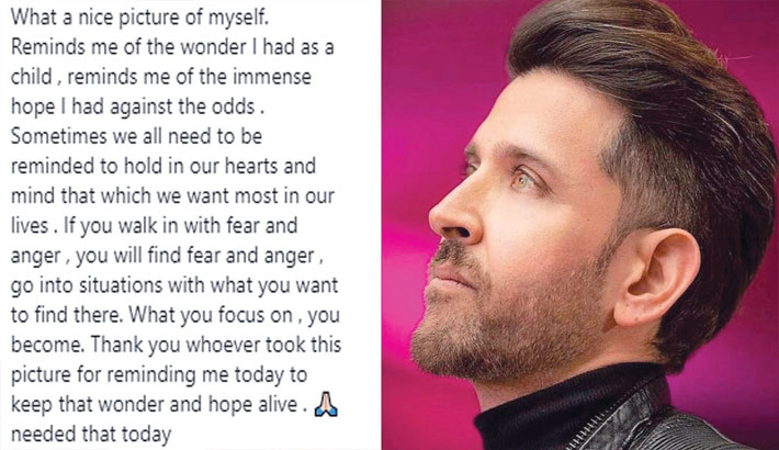 Hrithik shares a 'nice' picture of himself, asks us to keep hope alive