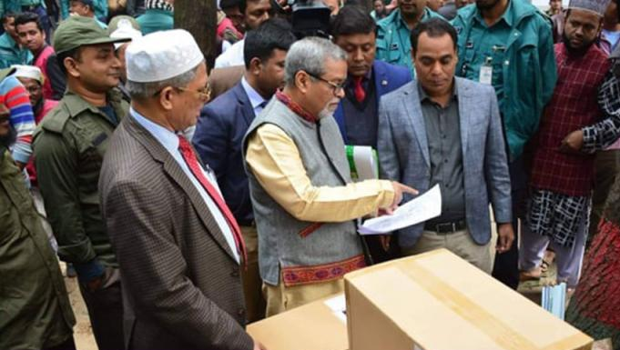 Dhaka city polls: CEC visits venue as Returning officers distribute election materials