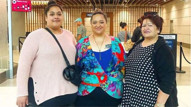 Mother and daughters 'too big' for business class