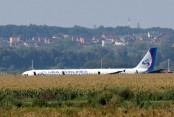Russian plane in belly landing, no one hurt