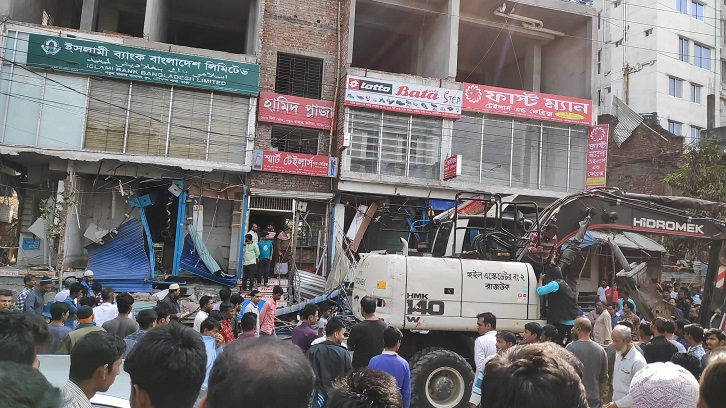 Eviction drive conducted at Hamid Plaza in Natun Bazar